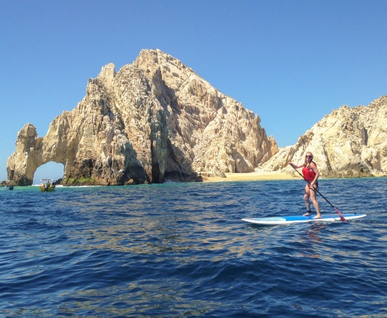 Paddle boarding to The Arch.  Not as easy at it looks.