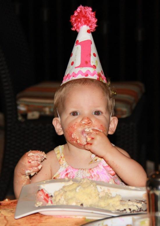 Enjoying her cake!