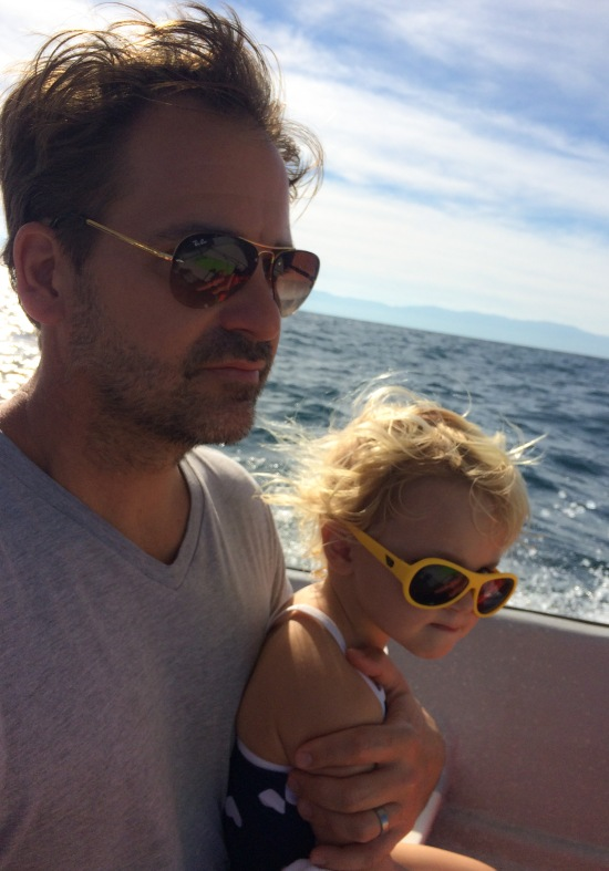 Charlotte's first time on a boat in the ocean.